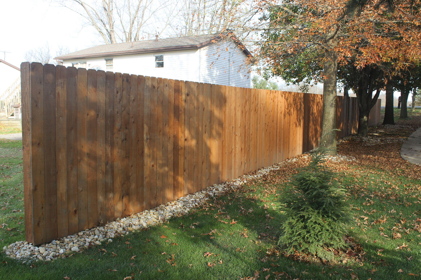 Decorativeprivacy fence installation home property boundary fence dogs kids yellow pine solid board fence