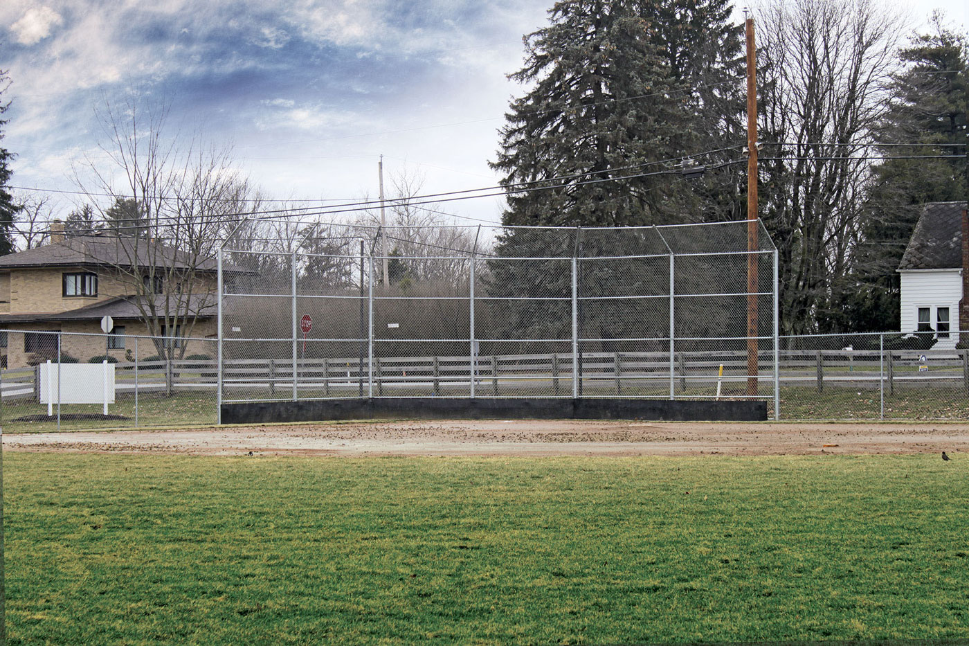 recreational baseball backstop chain link fence playground fence strauss fence norwich ohio